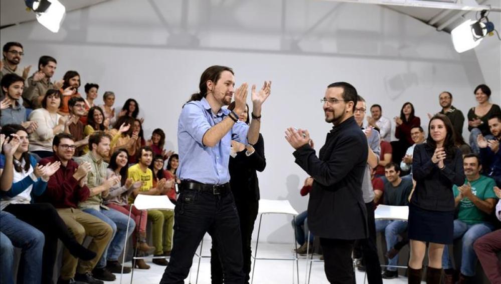 Pablo Iglesias en el acto de presentación de precampaña de Podemos.