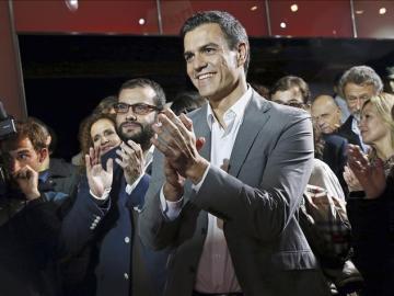 Pedro Sánchez en el mitin del PSOE con el apoyo del mundo de la Cultura.