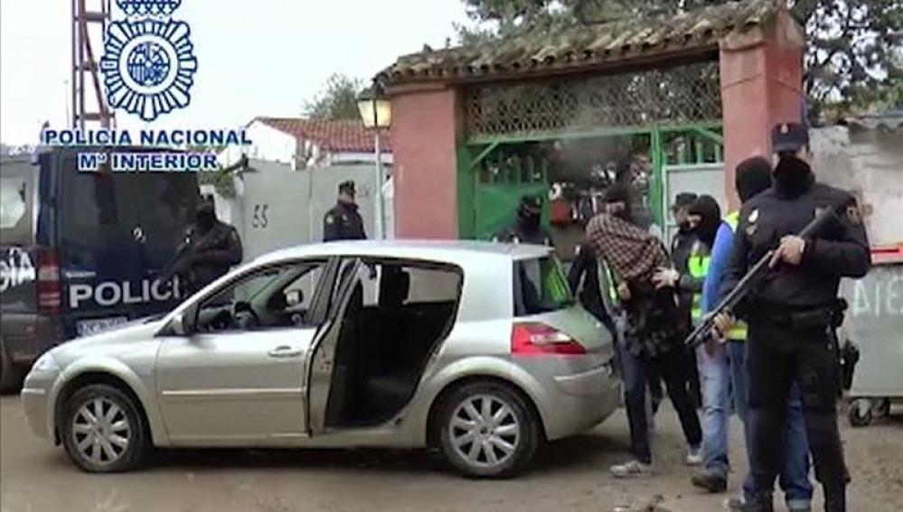 Detención en el poblado chabolista de la Cañada Real