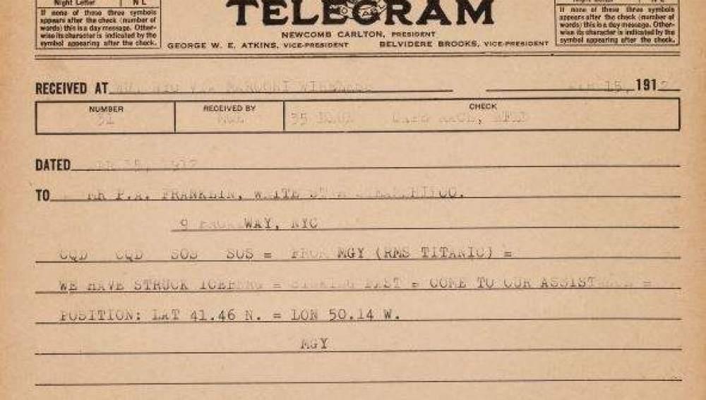 A subasta por más de 18.000 euros el telegrama que envió el Titanic pidiendo ayuda