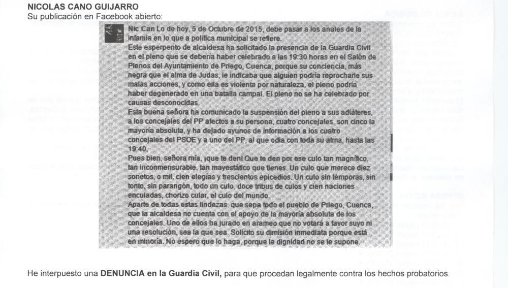 Bando del Ayuntamiento de Priego fechado el 20 de octubre