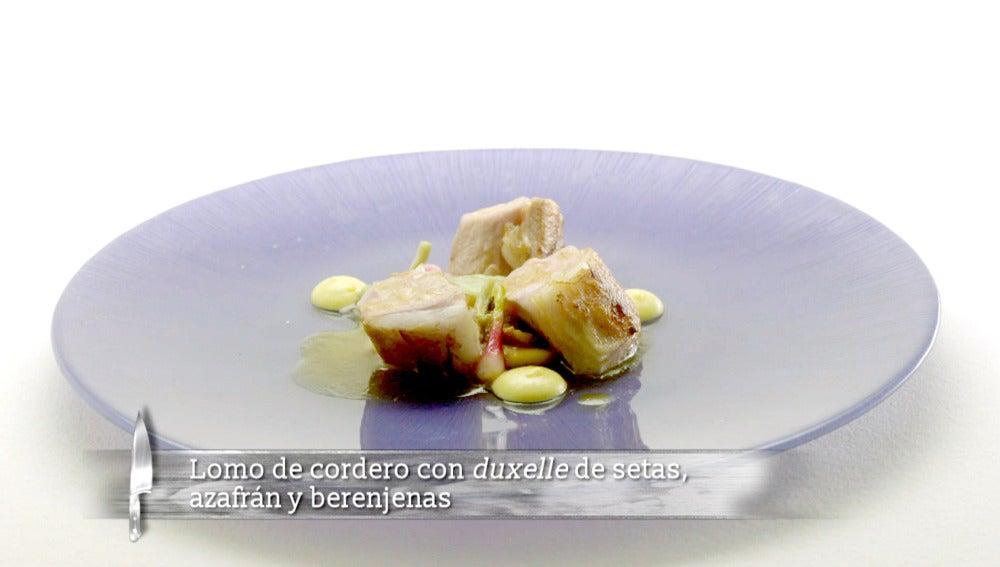 Alejandro Platero | Lomo de cordero con Duxel de setas, azafrán y berenjenas de almagro