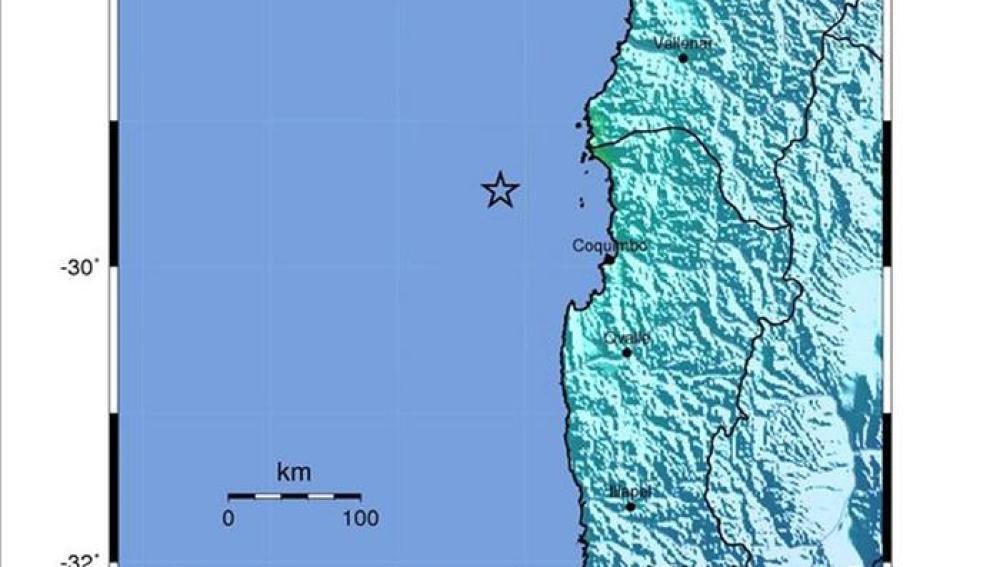 Mapa cedido por el Servicio Geológico estadounidense que muestra la ubicación del terremoto