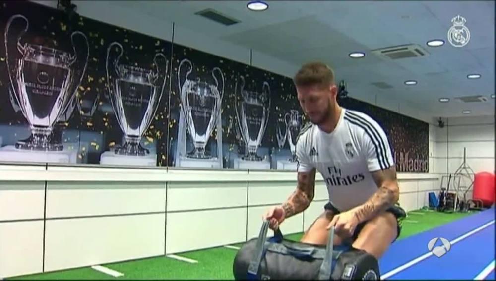 Sergio Ramos, entrenando en la ciudad deportiva del Real Madrid