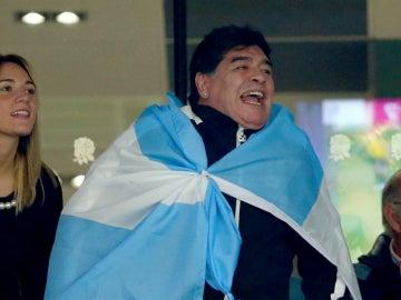 Maradona disfrutando de su selección