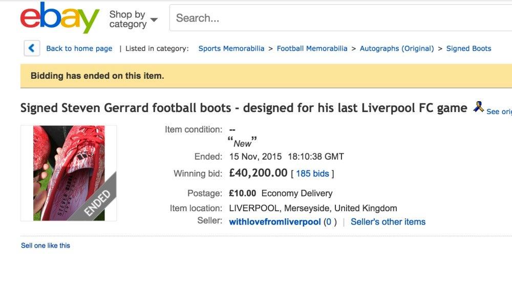 Las últimas botas de Gerrard con el Liverpool, vendidas por más de 40.000 libras