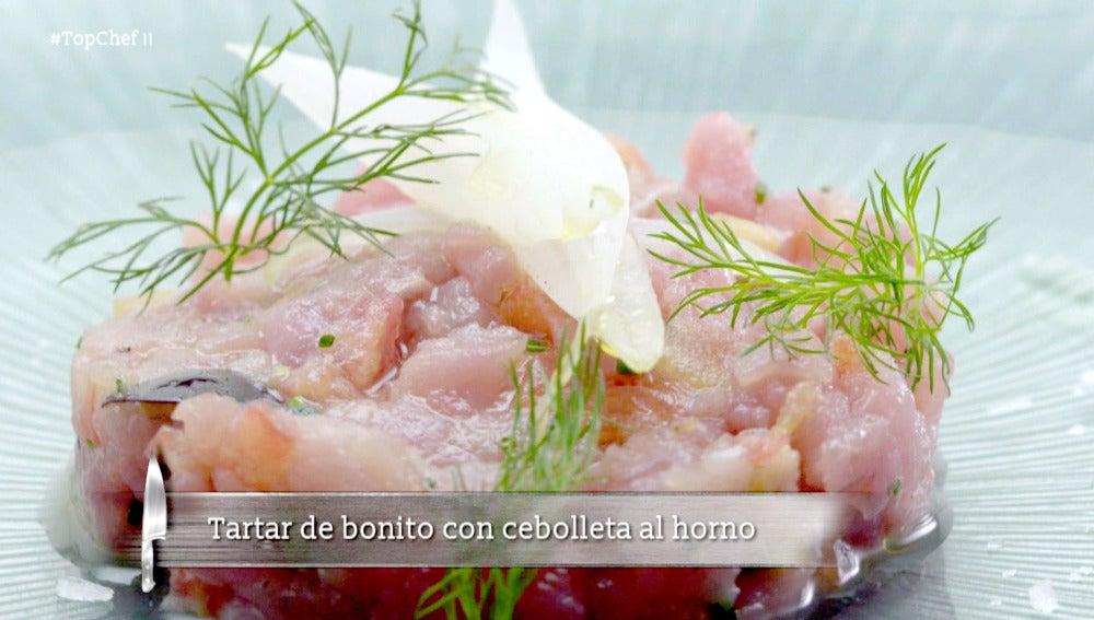 Tartar de bonito con cebolleta al horno