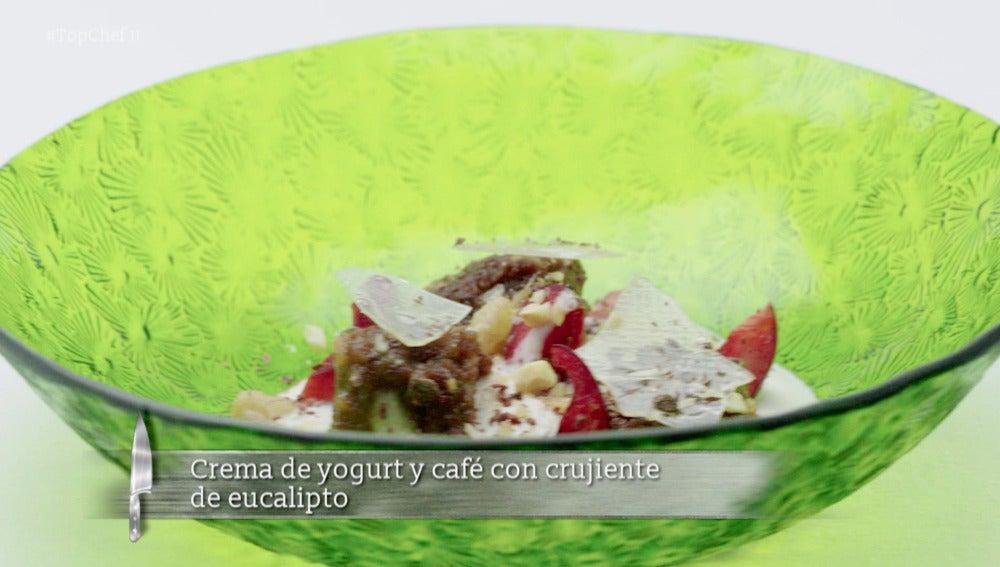Crema de yogurt y café con crujiente de eucalipto