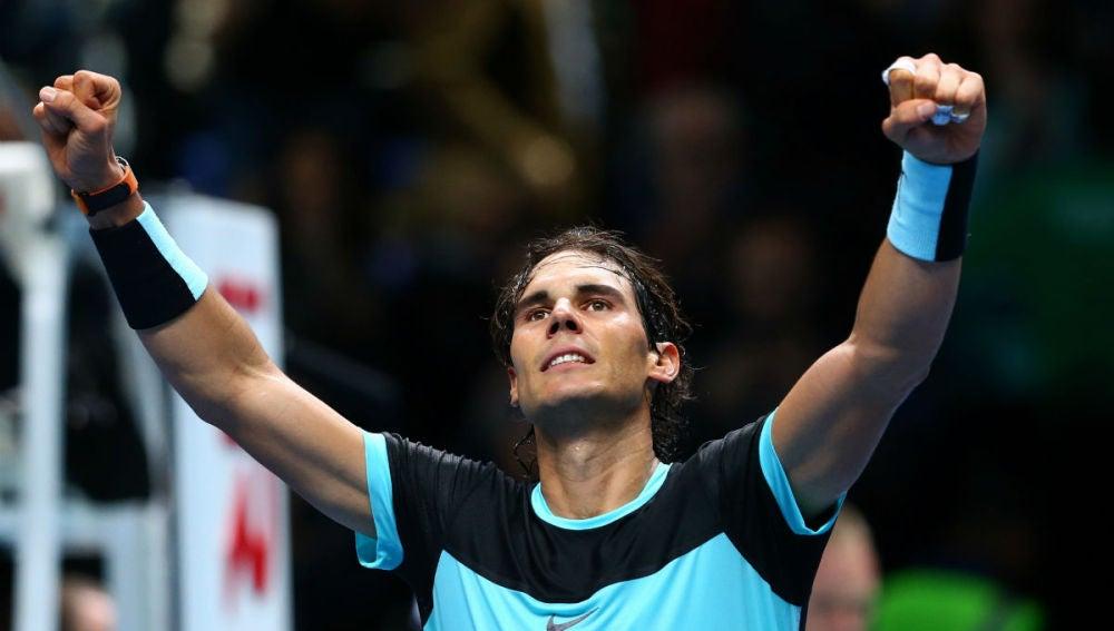 Nadal celebra la victoria ante Ferrer