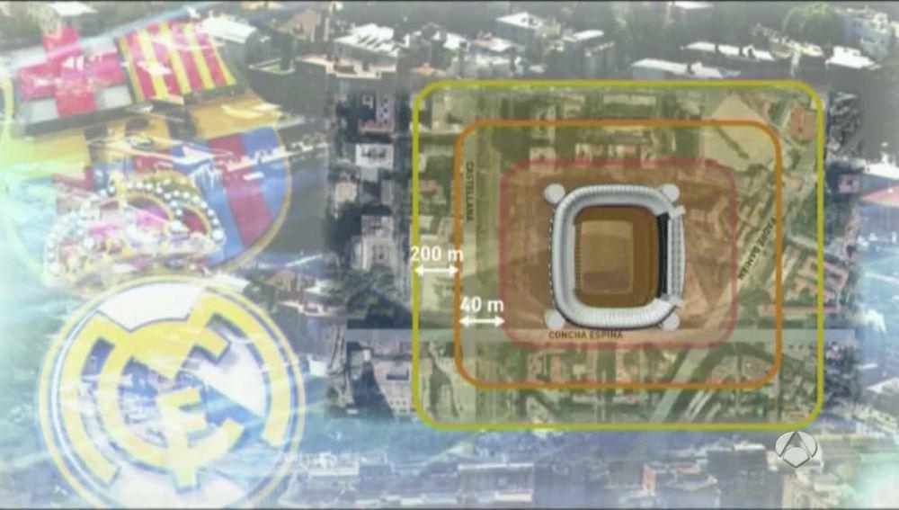 El triple anillo de seguridad dispuesto en el Bernabéu