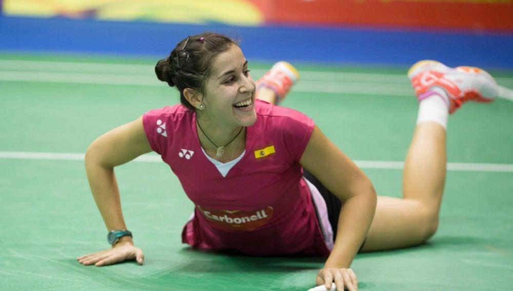 Carolina Marín celebra su victoria en semifinales