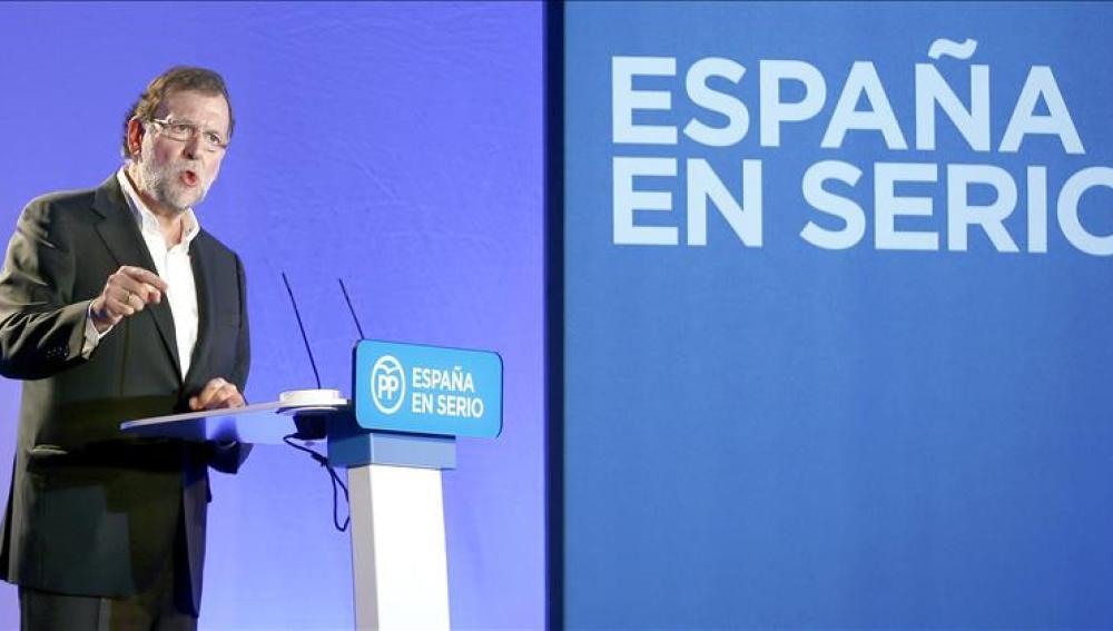 Mariano Rajoy, durante un acto en Barcelona