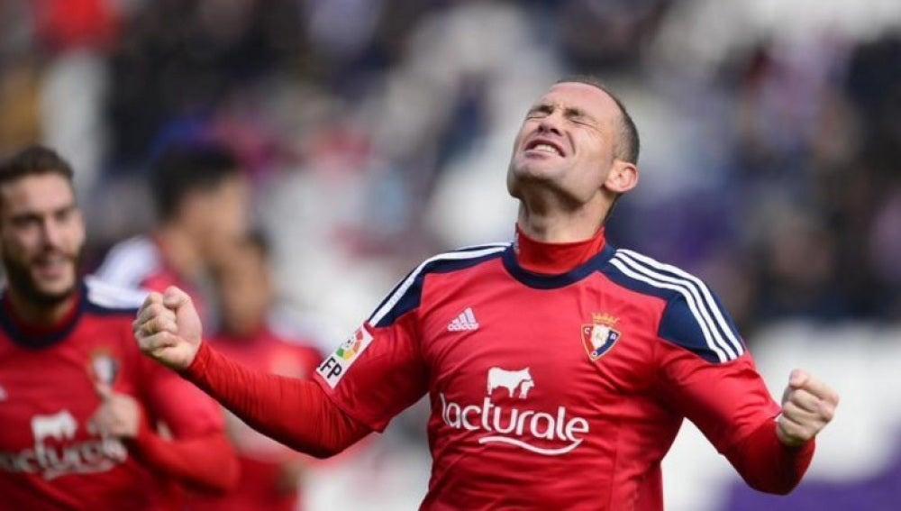 Nino celebra el gol ante el Valladolid