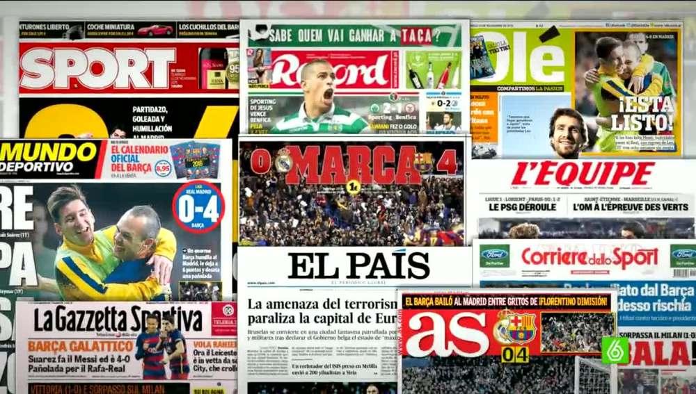 Las portadas de los medios sobre el Clásico