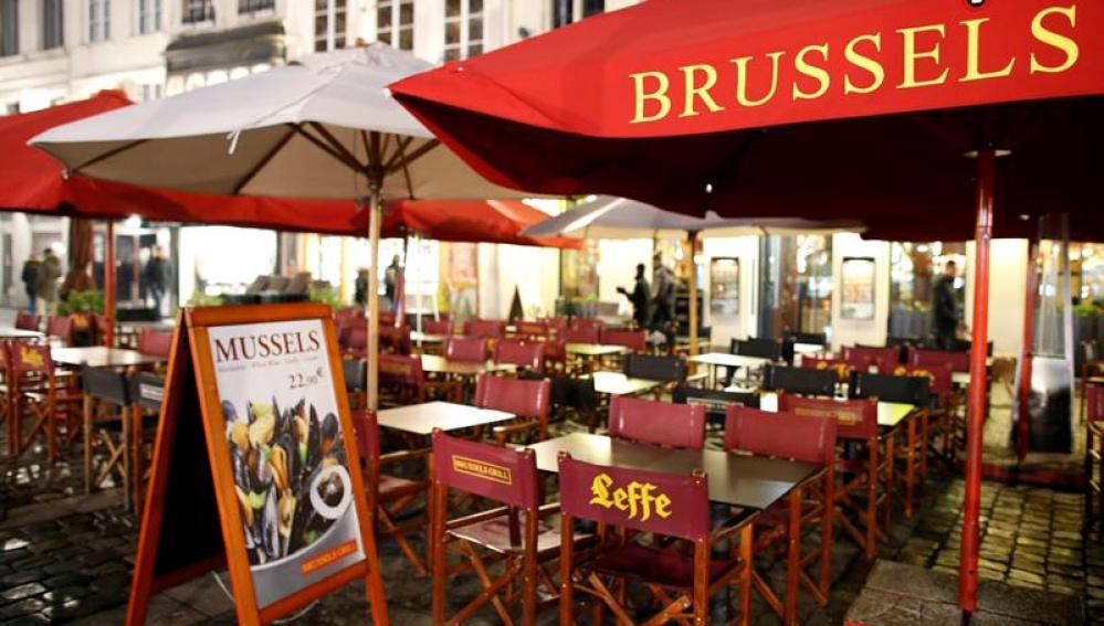 Terrazas vacías en Bruselas