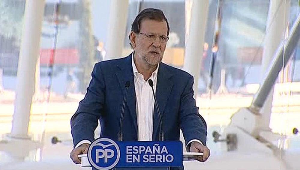 El presidente del Gobierno, Mariano Rajoy, en Valencia