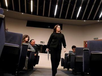 Soraya Sáenz de Santamaría, llegando a la rueda de prensa tras el Consejo de Ministros