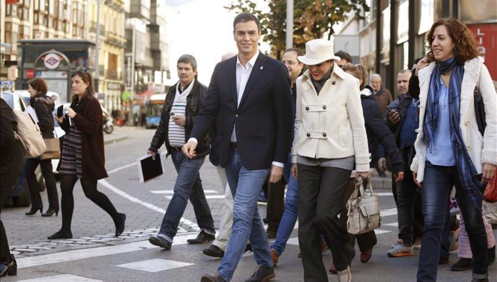 Pedro Sánchez en el centro de Madrid