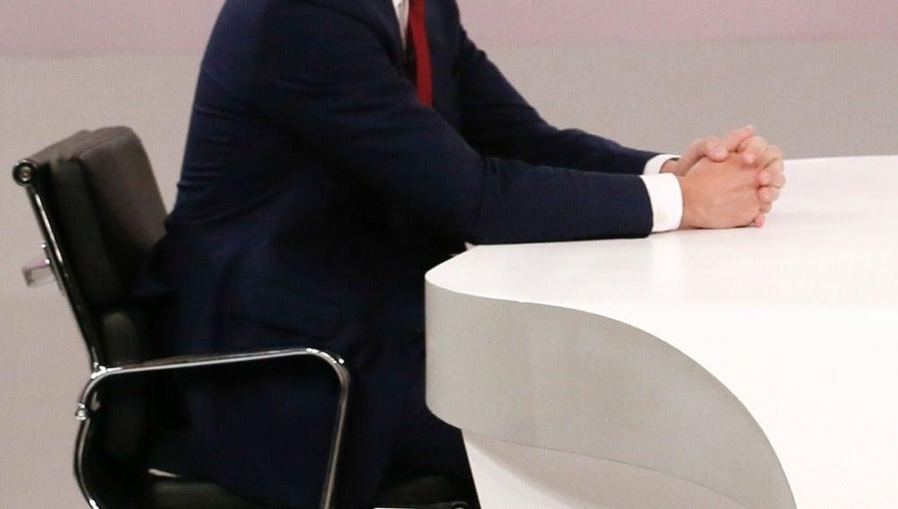 Pedro Sánchez en la mesa del cara a cara