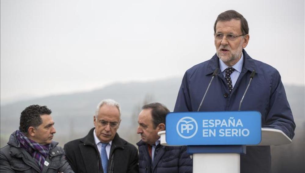 Mariano Rajoy durante un acto de campaña