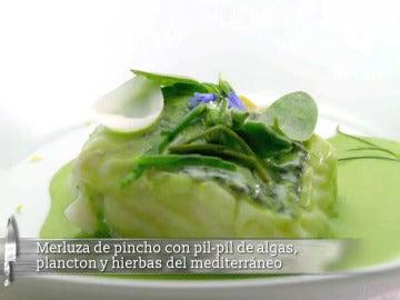 Merluza de pincho con pil-pil de algas, plancton y hierbas del mediterráneo
