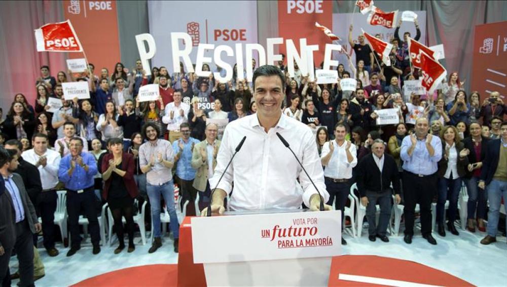 El candidato a la presidendencia del Gobierno por el PSOE, Pedro Sánchez