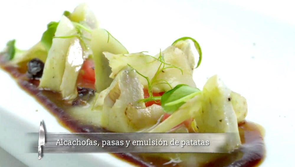 Alcachofas, pasas y emulsión de patatas