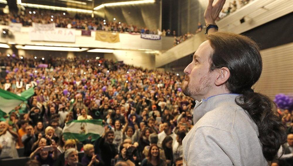 Pablo Iglesias, líder de Podemos, durante el mitin que ha celebrado en Sevilla