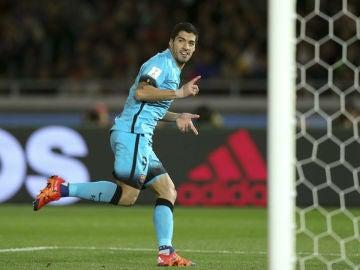 Luis Suárez celebra un gol ante el Guangzhou