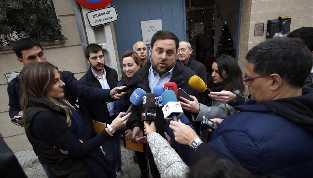 Oriol Junqueras tras ejercer su derecho a voto
