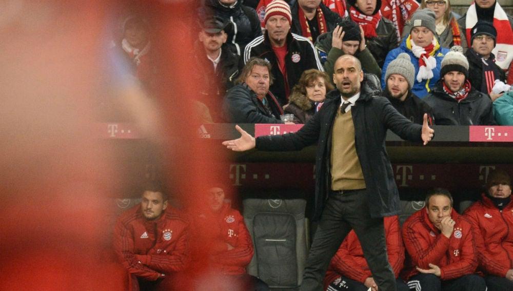 Pep Guardiola, en un partido del Bayern
