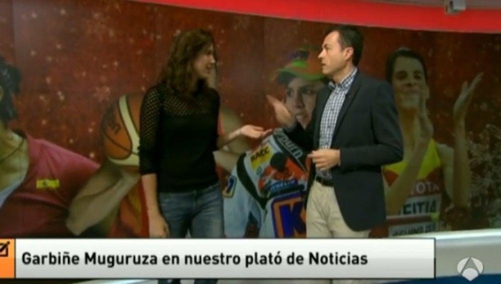 Garbiñe Muguruza, en el Plató de Antena 3 Noticias