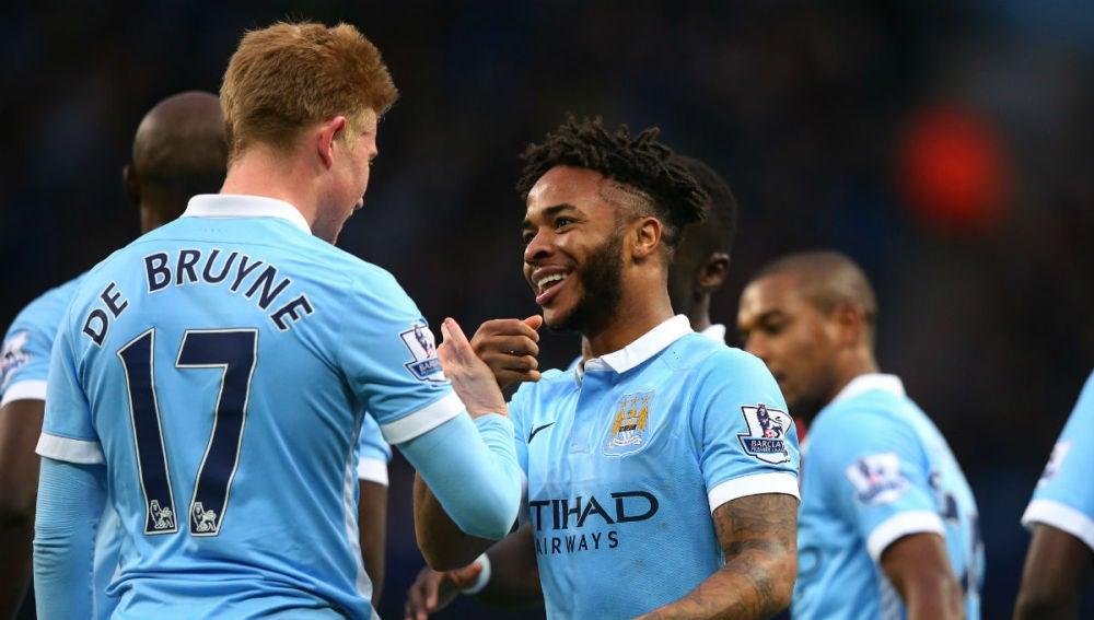Los jugadores del City celebran un gol ante el Sunderland