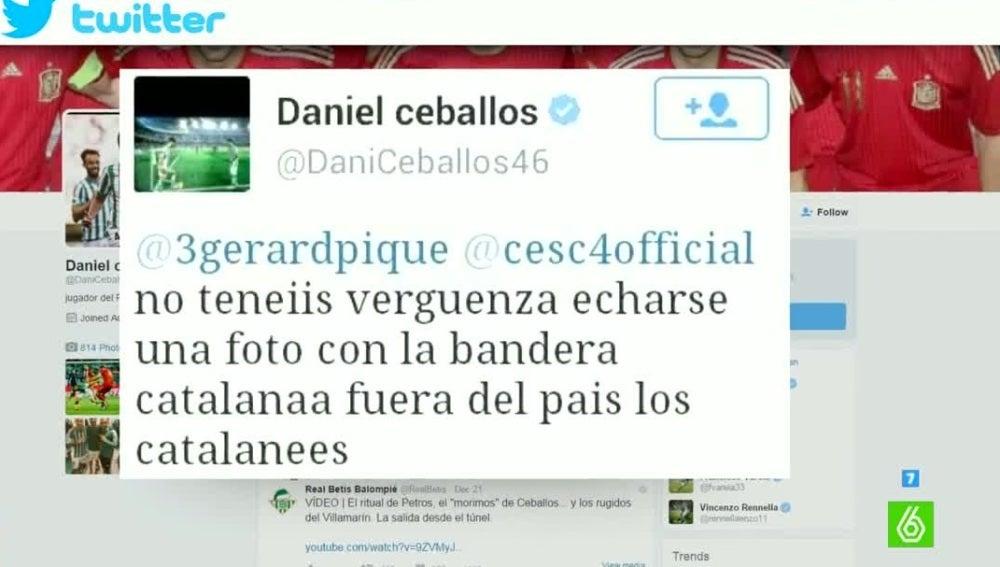 El tuit de Dani Ceballos contra Gerard Piqué y Cesc Fábregas