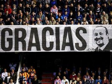 Pancarta de agradecimiento a Benítez en Mestalla