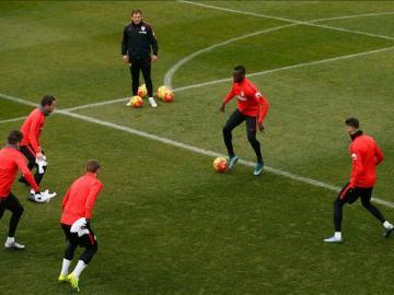 Los jugadores del Atlético de Madrid se entrenan en el Cerro del Espino