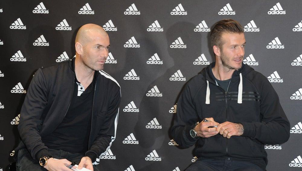 Zidane y Beckham en un acto