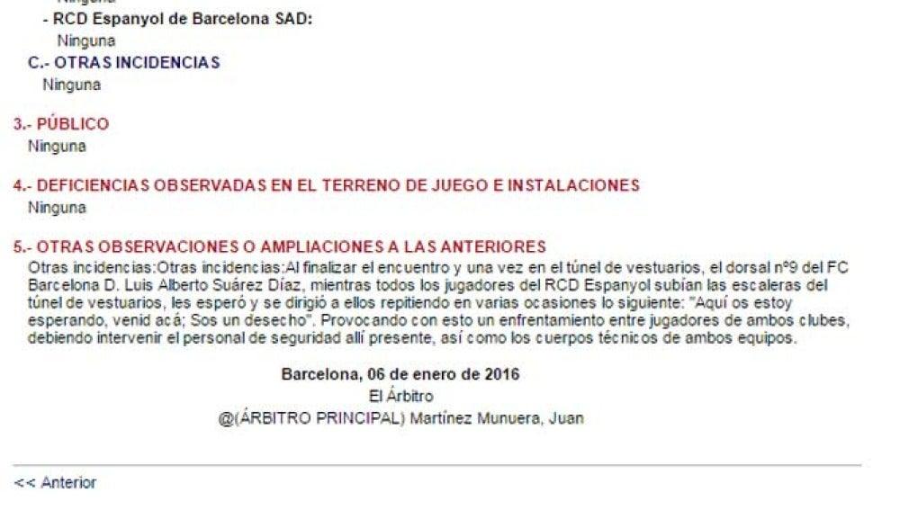 Acta del colegiado del Barcelona-Espanyol