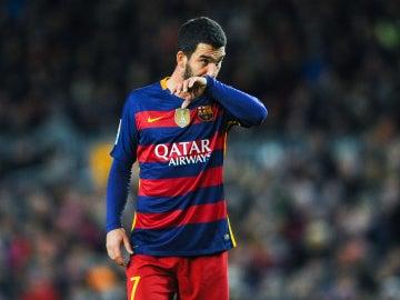 Arda Turan ante el Espanyol, el día de su debut en copa con el F.C Barcelona