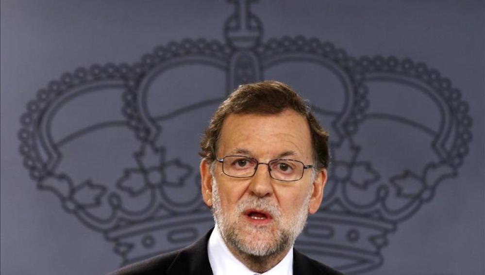 Rajoy durante una rueda de prensa en la Moncloa