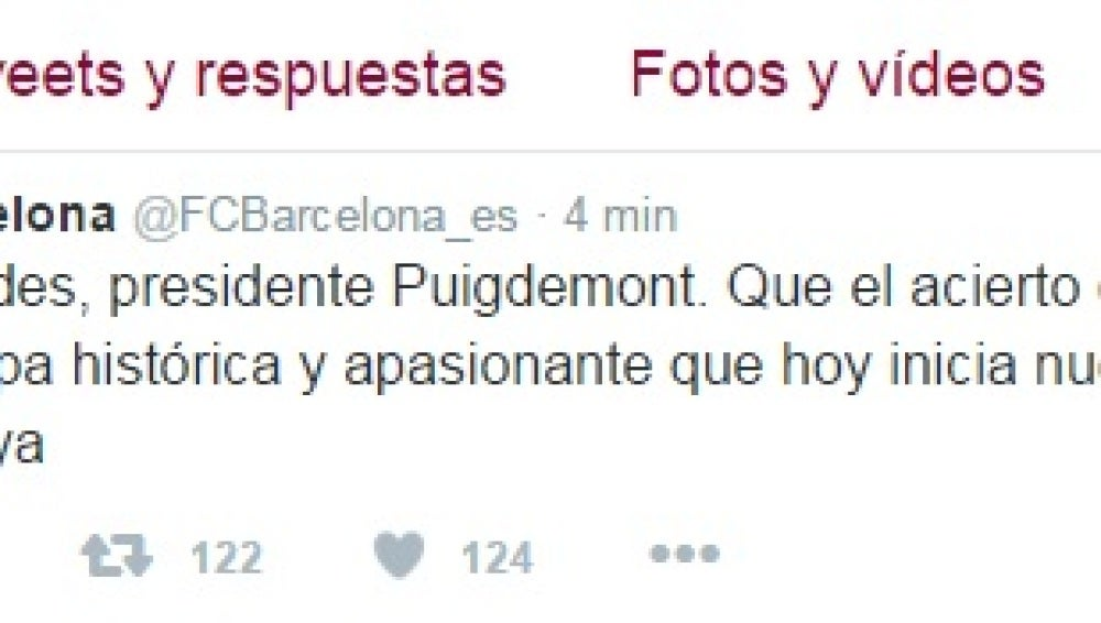 Tuit del F.C Barcelona apoyando a Puigdemont