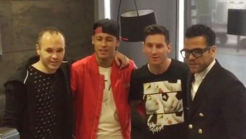 Iniesta, Neymar, Messi y Alves