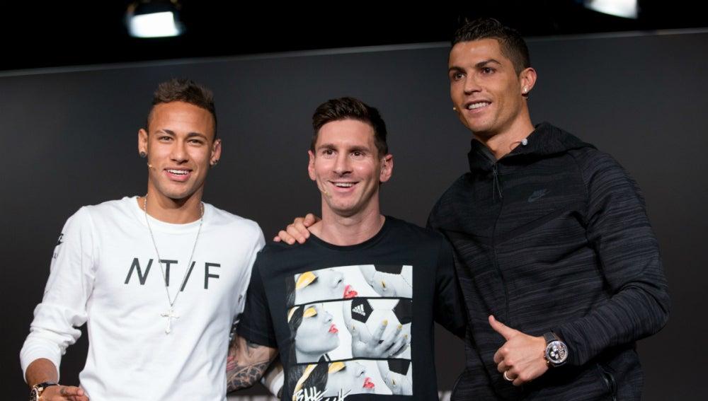 Neymar, Messi y Cristiano, en la gala del Balón de Oro