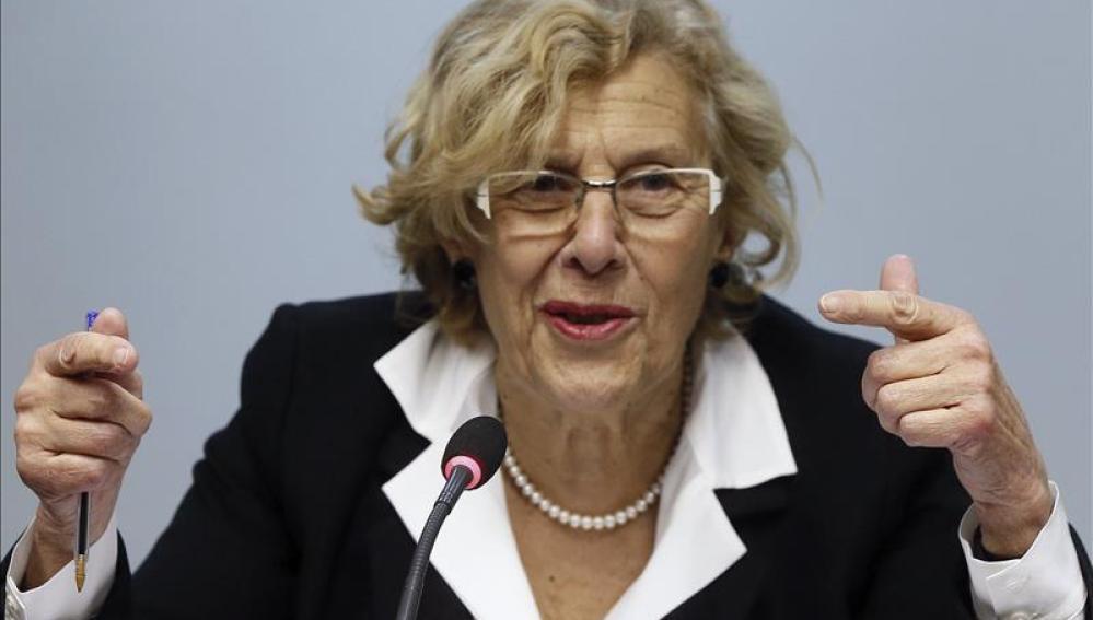 Manuela Carmena durante el encuentro que ha mantenido con la prensa