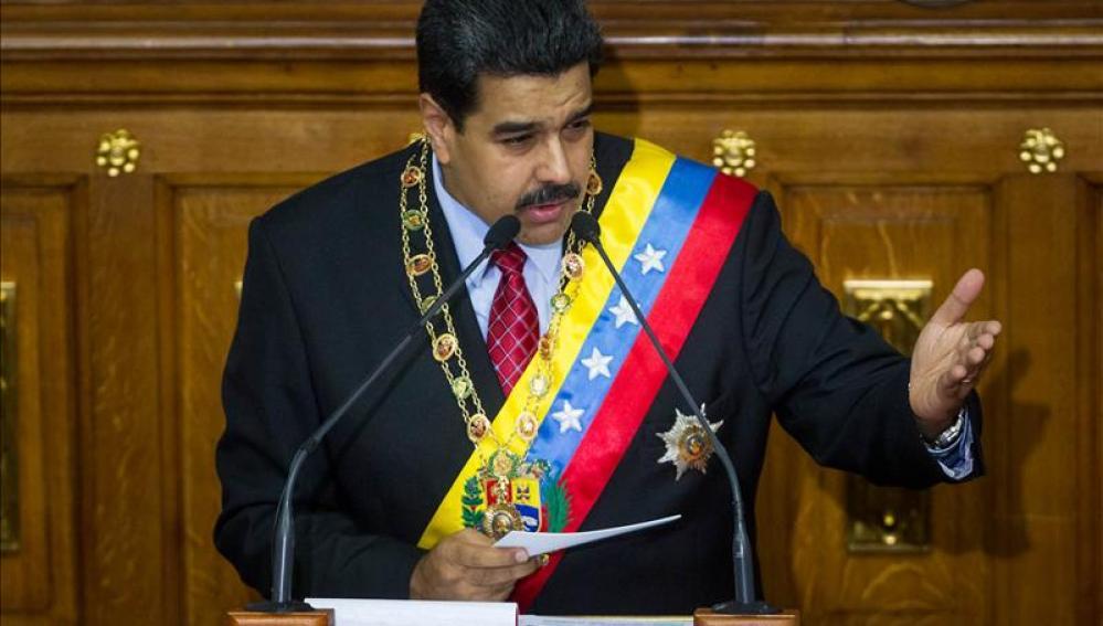 Nicolás Maduro durante su discurso en la Asamblea Nacional