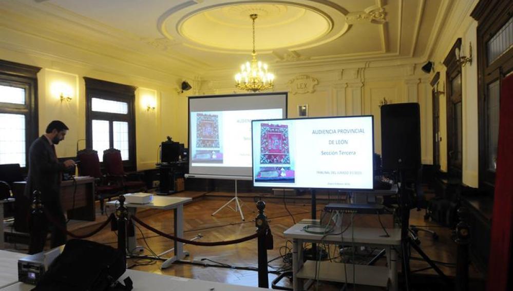 Vista de la sala de prensa de la Audiencia Provincial de León