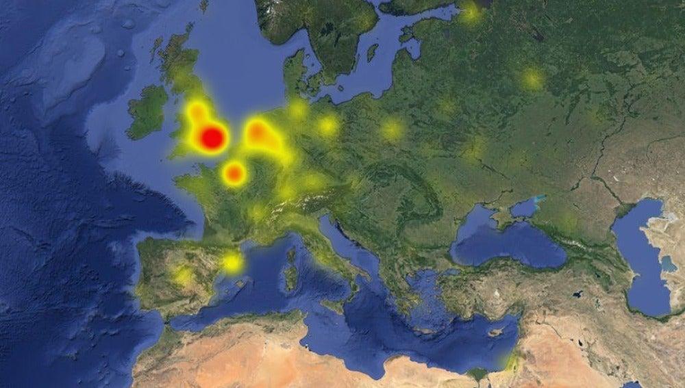 Mapa de la caída de Twitter