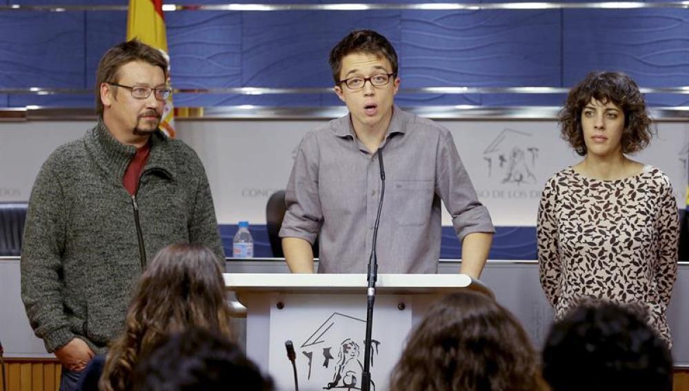 Iñigo Errejón en rueda de prensa tras registrar la solicitud del grupo parlamentario