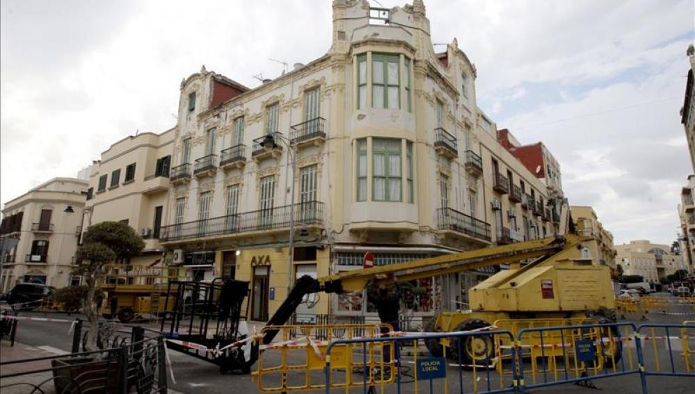 Algunos edificios del centro de Melilla han sufrido daños
