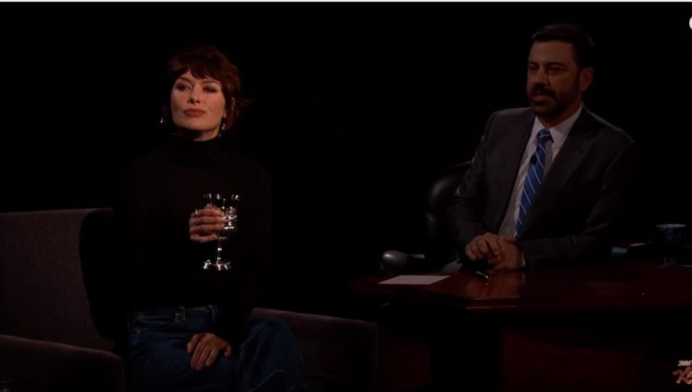 Lena Heady con Jimmy Kimmel